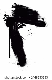 Fashion Illustration abstract. Portrait Woman Black and white painting