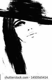 Fashion Illustration abstract. Portrait Woman Black and white girl