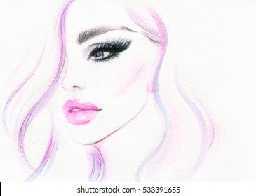 Fashion illustration. Abstract woman portrait. Watercolor painting