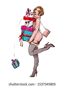 Fashion illustration: brunette girl in a sweater dress, gray over the knee boots with a small pink handbag holds in her hands a lot of multi-colored gift boxes with ribbons