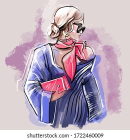 Fashion Illustration. Fashionista Wearing Trendy Outfit.  Bright and Stylish Sketch of Elegant Fashionable Woman. Beauty and Style Concept. Self-Confident Successful Woman