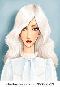 fashion illustration featuring a beautiful platinum blonde