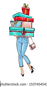 Fashion illustration: girl in the blue jeans and black shoes on high hills with small pink bag is holding some bright gift boxes with ribbons and coffee to go cup
