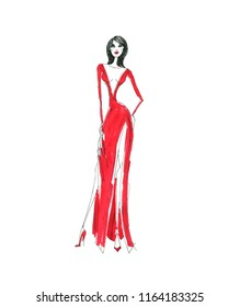 Fashion illustration. Girl in red dress