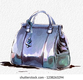 fashion illustration with purse, female blue stylish handbag  watercolor  raster hand drawing with texture