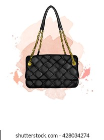 Fashion Illustration with quilt black handbag