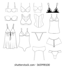 Fashion Illustration - Set of different underwear items - industrial flat fashion sketch