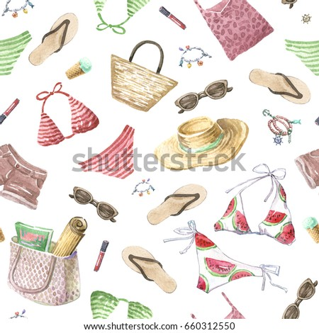 81b748767 Watercolor beach wear and accessories on a white background. Shorts