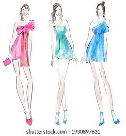 Fashion Illustration. Woman in evening dress