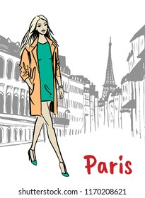 Fashion illustration of woman on street of Paris. Hand drawn ink sketch.