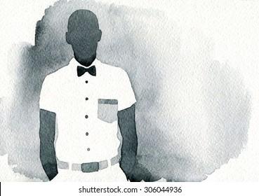 Fashion illustration. young man. abstract watercolor illustration