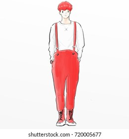 fashion man model sketch cartoon illustration