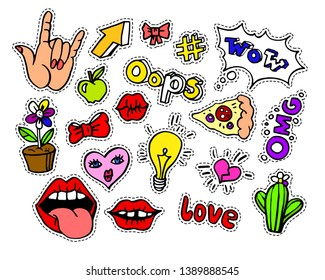 Fashion modern doodle cartoon patch badges or stikers with speach bubbles