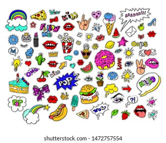 Fashion modern doodle cartoon patch badges or stikers with speach bubbles, stars, heart, lips and other elements. Set of cartoon pins in 80s 90s pop art.  Illustration.