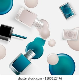 Fashion nail lacquer laying on table with dripping liquid in 3d illustration, blue and grey tone