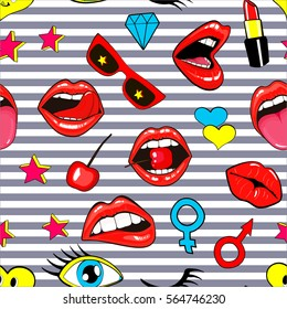 Fashion patch badges seamless pattern. Lips, kissing, open mouth, hearts, tongue, stars. illustration of sweet girl patches isolated on stripes. Set of textile stickers pins. 80 90 comic style