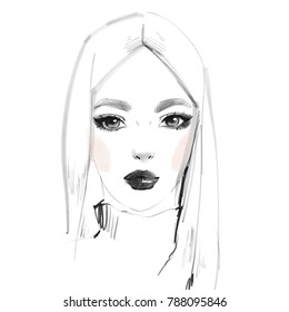 Fashion portrait of beautiful girl. Model face isolated. Hand drawn illustration. Woman sketch