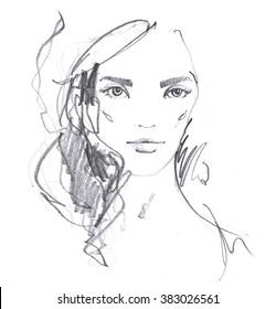 Fashion portrait drawing sketch. Illustration of a young woman face. Hand drawn fashion model face. Ink, pencil, watercolor.