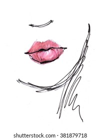 Fashion portrait drawing sketch. Red lips. Illustration of a young woman face. Hand drawn fashion model face. Ink, pencil, watercolor.