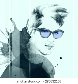 Fashion portrait. young beautiful man. hand painted fashion illustration