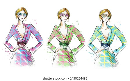 Fashion portrait of a young woman wearing smart checked dress, watercolor illustration