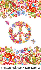 Fashion print with colorful floral summery seamless border and hippie peace flowers symbol for shirt design and hippy party poster