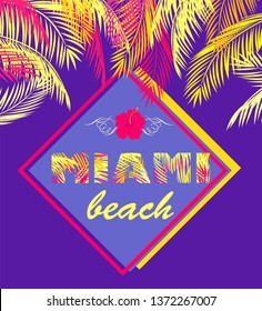 Fashion print with Miami beach lettering with yellow and pink palm leaves on violet background for Tshirt, bag, label, tags, summery party poster, summer sale and other design