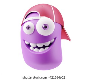 Fashion Red Cap Emoticon Face. 3d Rendering.