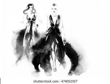 Fashion runway elegant lady with midi dress. watercolor illustration