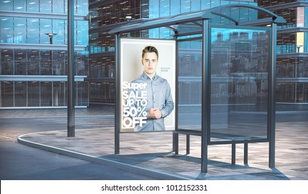 Fashion sale advertising on a bus stop 3d rendering