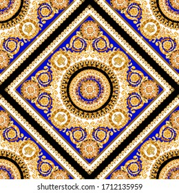 Fashion Scarf ornament baroque seamless pattern composed by gold elements on blu china and black background.