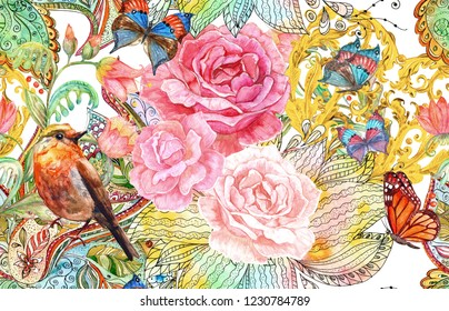 fashion seamless pattern with fancy blossoms and bird. watercolor painting