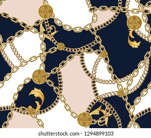 Fashion Seamless Pattern with Golden Chains on Dark Blue, Light Brown and White Background. Fabric Design Background with Chain.