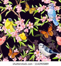 fashion seamless texture with funny birds. watercolor painting