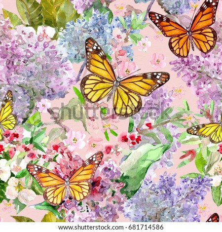 Fashion Seamless Texture Spring Flowers Butterflies Stock