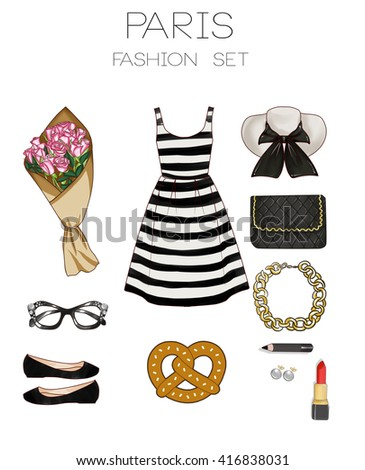 4e8f984a16 Fashion set of woman s clothes and accessories - Paris - French style  outfit -striped dress