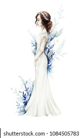 fashion sketch drawing of an elegant wedding dress beautiful young girl bride sketch of a wedding image with leaves on background dress with lace and decoration