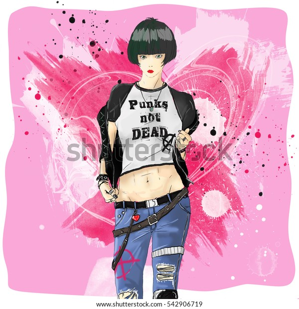 fashion sketch drawing girl in style punk