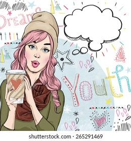 Fashion sketch illustration of girl holding coffee cup in  hands with speech bubble. Youth style poster with beautiful female model.