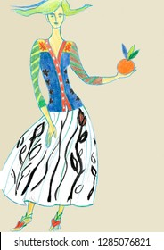 fashion sketch inspired by Henri Matisse collages