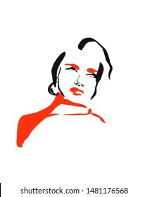 Fashion sketch of a model woman portrait. Black and red lines. Hand drawn illustration. Young beauty glamour girl.