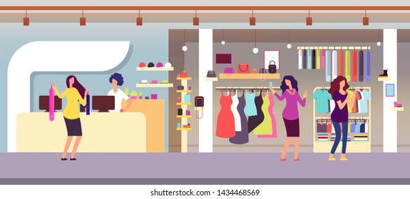 Fashion store. Shopping women in boutique with femele clothes and accessories. Clothing shop interior flat illustration. Boutique store, interior elegance retail showroom
