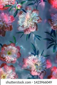 Fashion trendy digital pattern photo print - abstract  bright pink pions ornament on dark green abstrakt background.