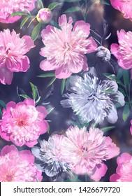 Fashion trendy digital pattern photo print - abstract  bright pink pions ornament on dark blue abstrakt background.