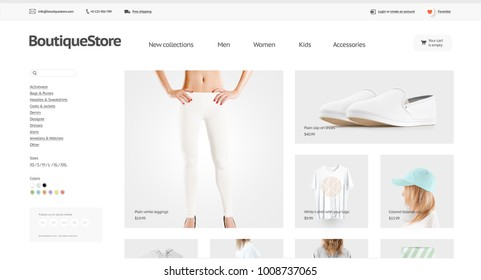 Fashion web store template mock up isolated, 3d illustration. Clothing web page interface mockup. Internet website template. Websstore screen layout for computer display.