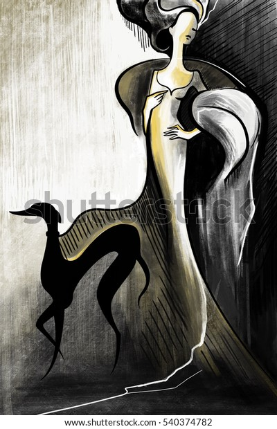 Fashion woman model lady girl background with dog.  Painted illustration in vintage style.