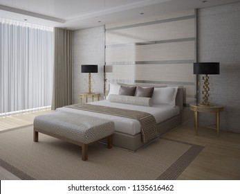 A fashionable bedroom with a large comfortable bed and a fashionable light background, 3d rendering.