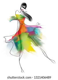 Fashionable girl in a beautiful dress, sketch