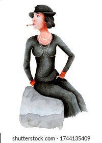 Fashionable girl in the style of Coco Chanel. Girl in a black dress. Fashion. Cigarette Wort. Technique watercolor.