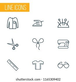 Fashionable icons line style set with bowknot, sewing machine, sewing pattern and other scissors elements. Isolated  illustration fashionable icons.
